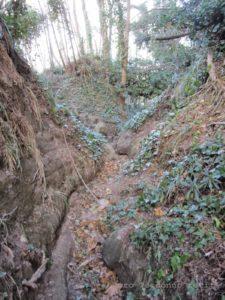 Il tracciato alternativo scavato dall'acqua e dal passaggio dei cavalli.