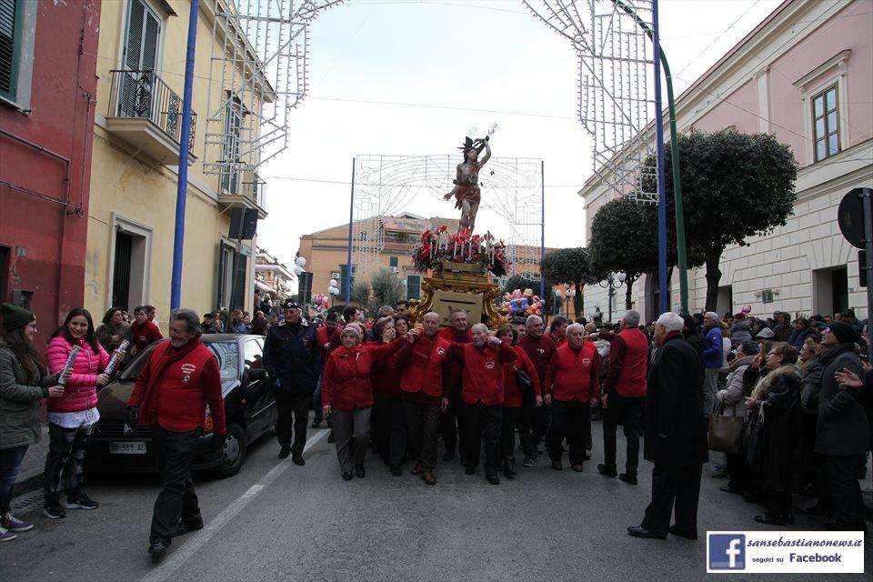 Processione di San Sebastiano 2017 - In via Roma dopo l'uscita dal Santuario